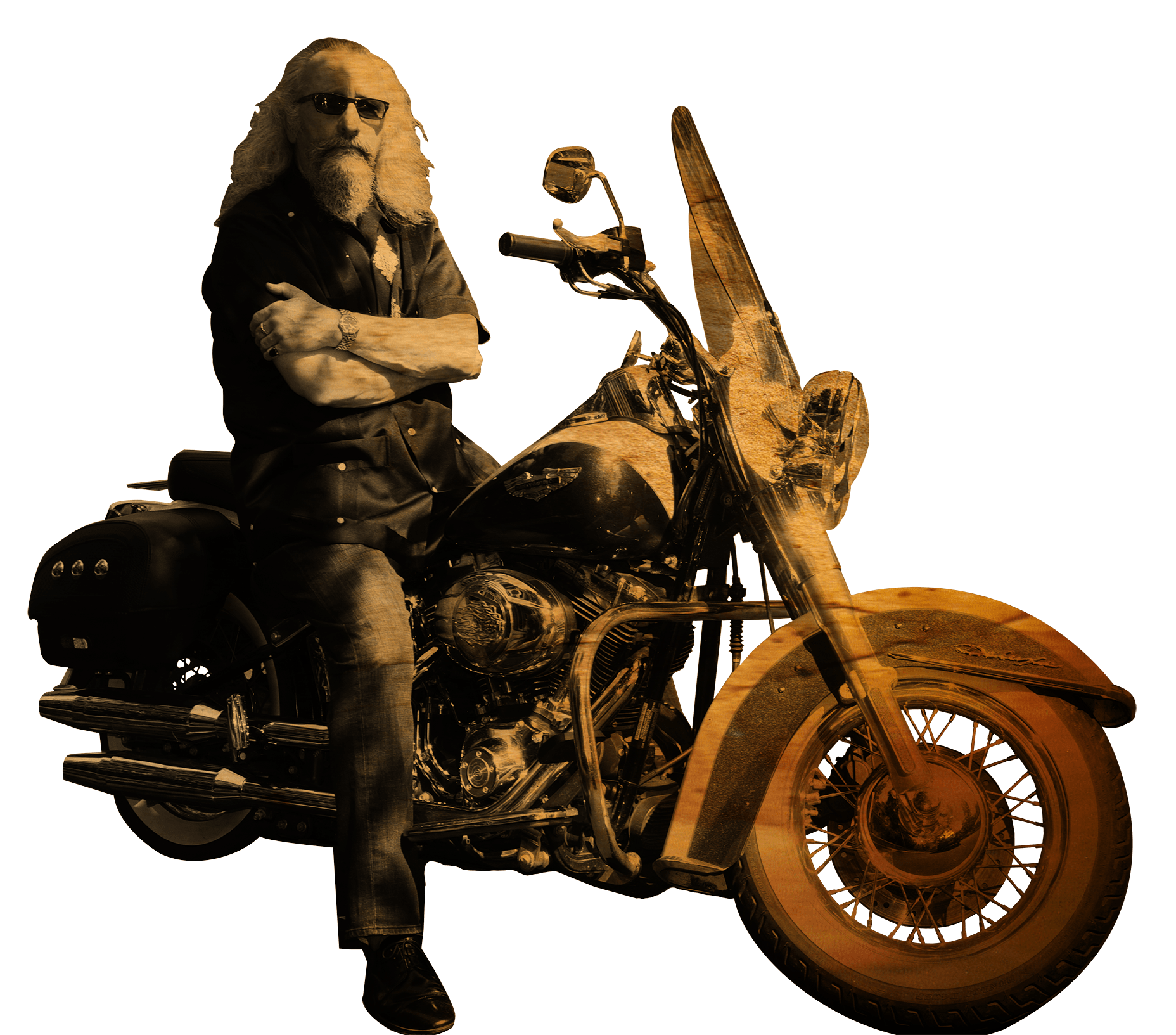 The Outlaw Steve Corbett on a motorcycle